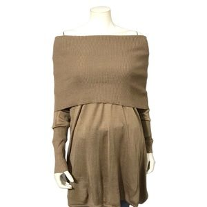 Twiggy London Brown Off The Shoulder Sweater Sz-Lg